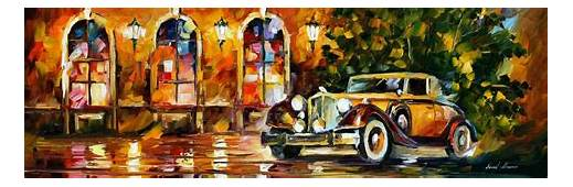 1934 PACKARD — PALETTE KNIFE Oil Painting On Canvas By