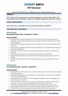 php developer resume sles qwikresume