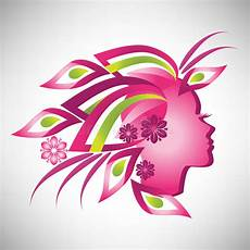 vector illustration of abstract beautiful stylized pink silhouette in profile with floral