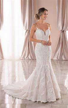 graphic lace mermaid wedding dress with open back stella