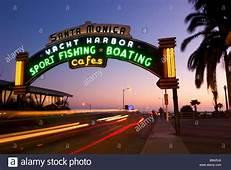 Santa Monica Pier Neon Sign Entrance California Stock