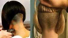 extreme bob nape shave nape shaving women bob haircut buzzed nape women youtube