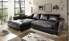 Big Sofa L Form Vintage Schwarz Grau Links Real