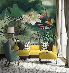 poster tapisserie geant peinture asiatique zen les lotus les oiseaux les