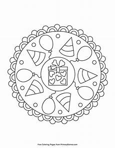 happy birthday mandala coloring page free printable