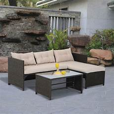 garden decking furniture 3pc outdoor patio sofa set pe rattan wicker deck
