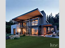 Modern Gray Exterior With Steel Beams   Luxe Interiors