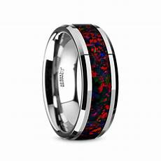 halley tungsten carbide black opal inlay men s wedding band with beveled edges 8mm