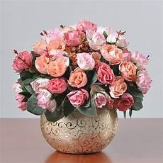 1set artificial flower bouquet golden ceramic vase