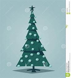 merry christmas tree with decorations cartoon vector illustration stock vector illustration