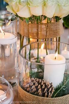 pretty centerpieces for a winter wedding reception via