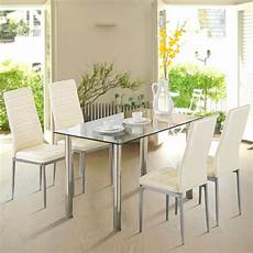 5 piece dining table 4 chairs glass metal kitchen room breakfast furniture ebay