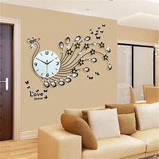 aliexpress com buy large peacock wall clock modern