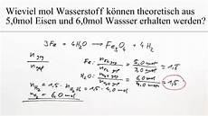 reduktion wasser berechnung i chemie