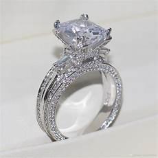 2019 vecalon big jewelry ring princess cut 10ct diamond stone cz 925 sterling silver