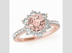 Morganite & Diamond Flower Lotus Halo Engagement Ring 14k