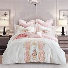 4pcs cotton satin elegance palace luxury bedding embroidery duvet cover bed sheet