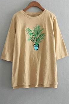 T Shirt Besticken - oversized crew neck plant embroidered t shirt yellow tees