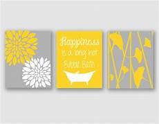 Etsy Yellow And Gray Bathroom by Modern Bath Modern Floral Flower Artwork Set Of 3