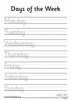 days of the week handwriting worksheet