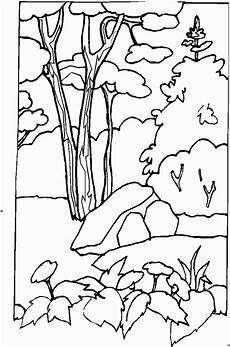 malvorlagen landschaften gratis und original blumen und stein vor baum ausmalbild malvorlage
