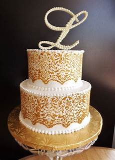 ivory pearl wedding cake topper monogram cake
