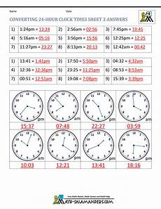 24 hour clock conversion worksheets