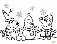 Peppa Wutz Ausmalbilder A4 Peppa And Are Snowman Coloring Page Free
