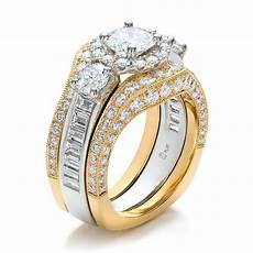 two toned wedding ring sets estate two tone wedding and engagement ring 100619
