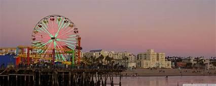 Santa Monica Beach At Evening Los Angeles 4K HD Desktop