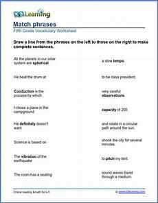 writing sentences worksheets for grade 5 22963 grade 5 worksheets match phrases k5 learning vocabulary worksheets vocabulary