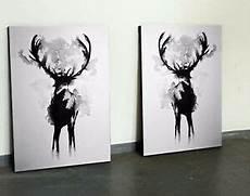 Bild Schwarz Weiß Leinwand - xl bild set 110x70 neu leinwand hirsch schwarz weiss
