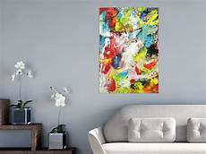 handgemalte bilder auf leinwand abstraktes acrylbild action painting sehr bunt modern art