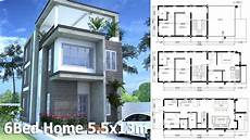 3 story home design plan 5 5x13m with 6 bedroom youtube