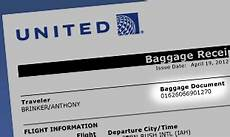 find your baggage document number