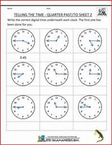 time worksheet quarter past and quarter to sheet 2