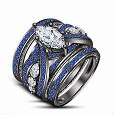 new blue sapphire wedding engagement ring set all size