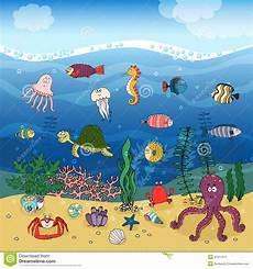 Malvorlagen Qualle Kostenlos Spielen Unterwasserozeanleben Unter Den Wellen Vektor Abbildung