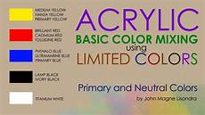 basic color mixing in acrylic using 5 limited colors by jm lisondra youtube