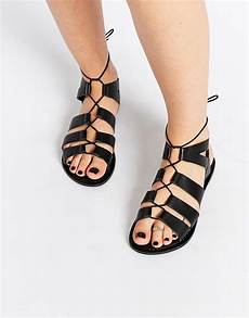 foss leather lace up sandals