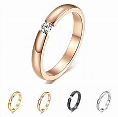 3mm black silver rose gold cz titanium steel ring men womens wedding band sz5 10 ebay