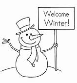 Welcom Winter Snowman Print Coloring Pages For Kids Free