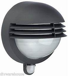 massive philips boston outdoor wall light bulkhead with pir black new ebay
