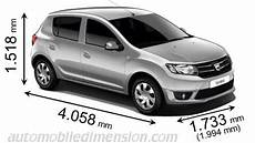 dacia sandero dimension dimensions of dacia cars showing length width and height