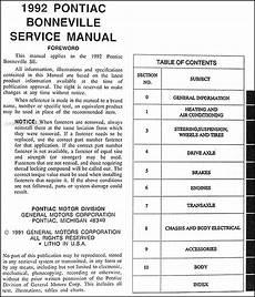 car repair manuals online free 1988 pontiac bonneville lane departure warning 1992 pontiac bonneville se repair shop manual original