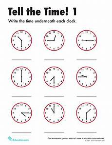tell the time 1 worksheet education com