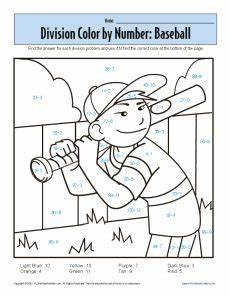 math coloring sheets on color by number baseball printable