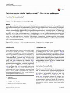 pdf early intervention aba for toddlers with asd effect of age and amount