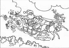 reindeer flying santas sleigh stock illustration