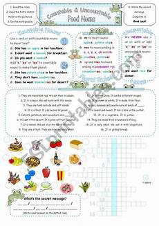 countable uncountable food nouns single plural with
